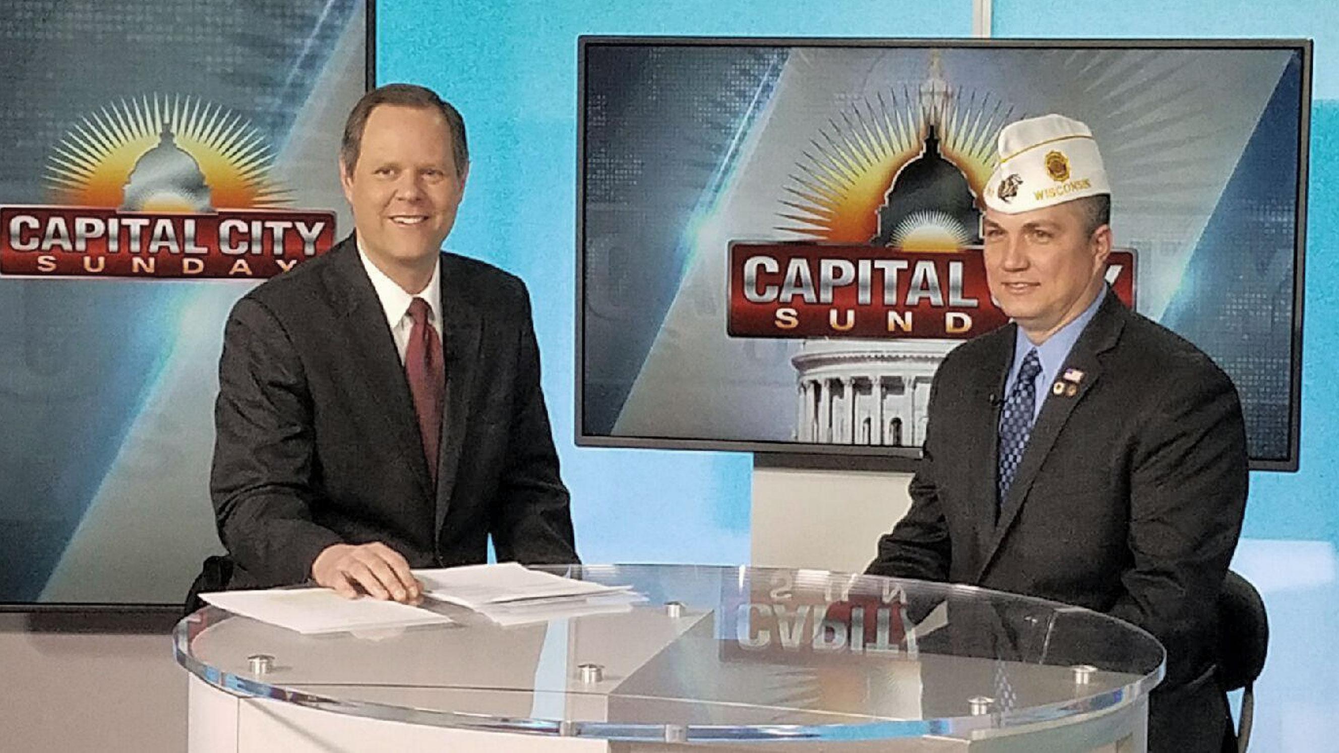 American Legion State Commander Seehafer speaks on behalf of veterans regarding the repeal of prevailing wage in Wisconsin