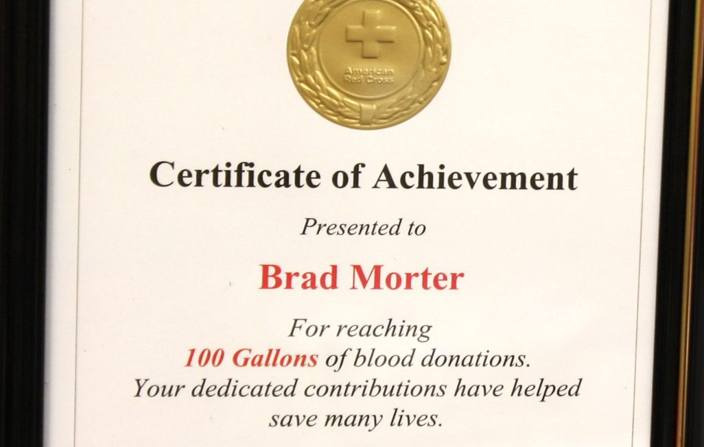 blood donation certificate