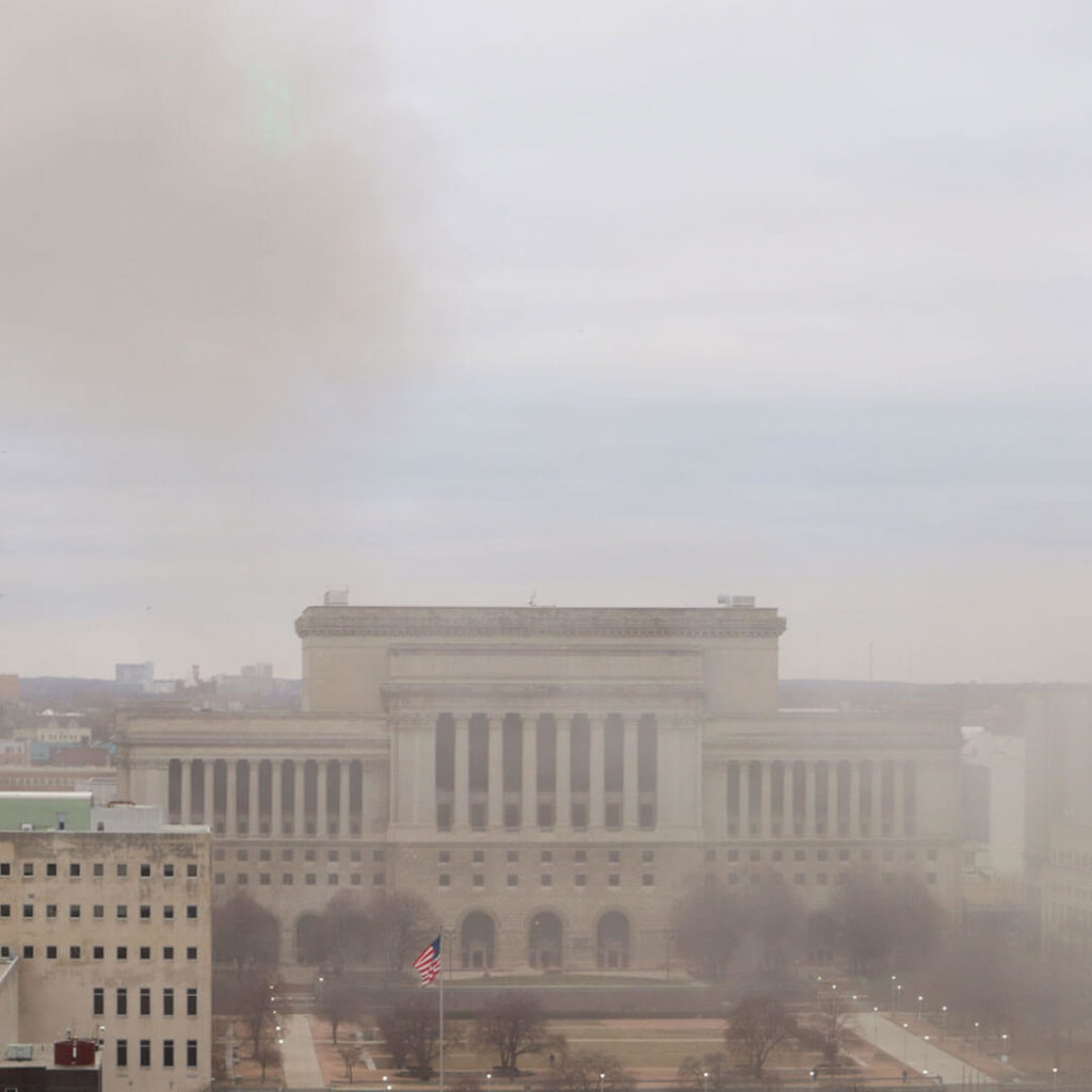 Dust cloud after Bradley Center Roof Implosion