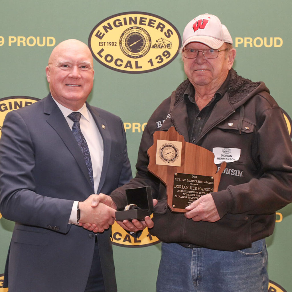 50-Year member Dorian Hermanson pictured with Terry McGowan