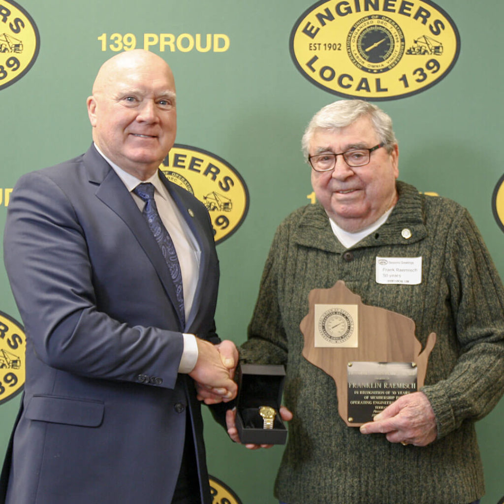 50-Year member Franklin Raemisch pictured with Terry McGowan