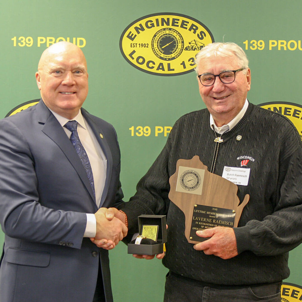 50-Year member Laverne (Butch) Raemisch pictured with Terry McGowan