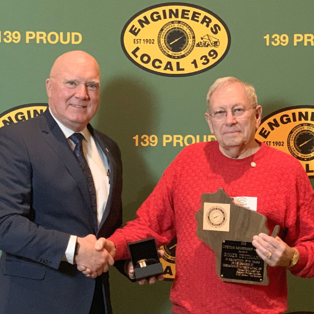 50-Year member Roger Dettman pictured with Terry McGowan