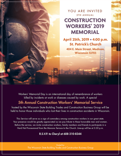 5th Annual Construction Workers' Memorial on April 25th