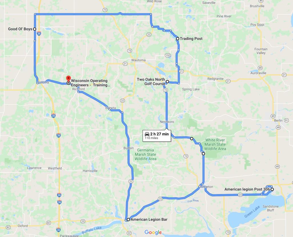 2020 Local 139 Poker Run Map